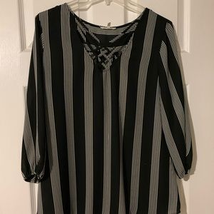 Black and White blouse with strappy neck line